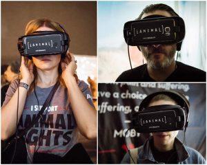 verschiedene Personen mit der virtualReality-Brille. Die iAnimal-Brille ermöglicht es, die Sicht eines Tieres in der Massentierhaltung einzunehmen