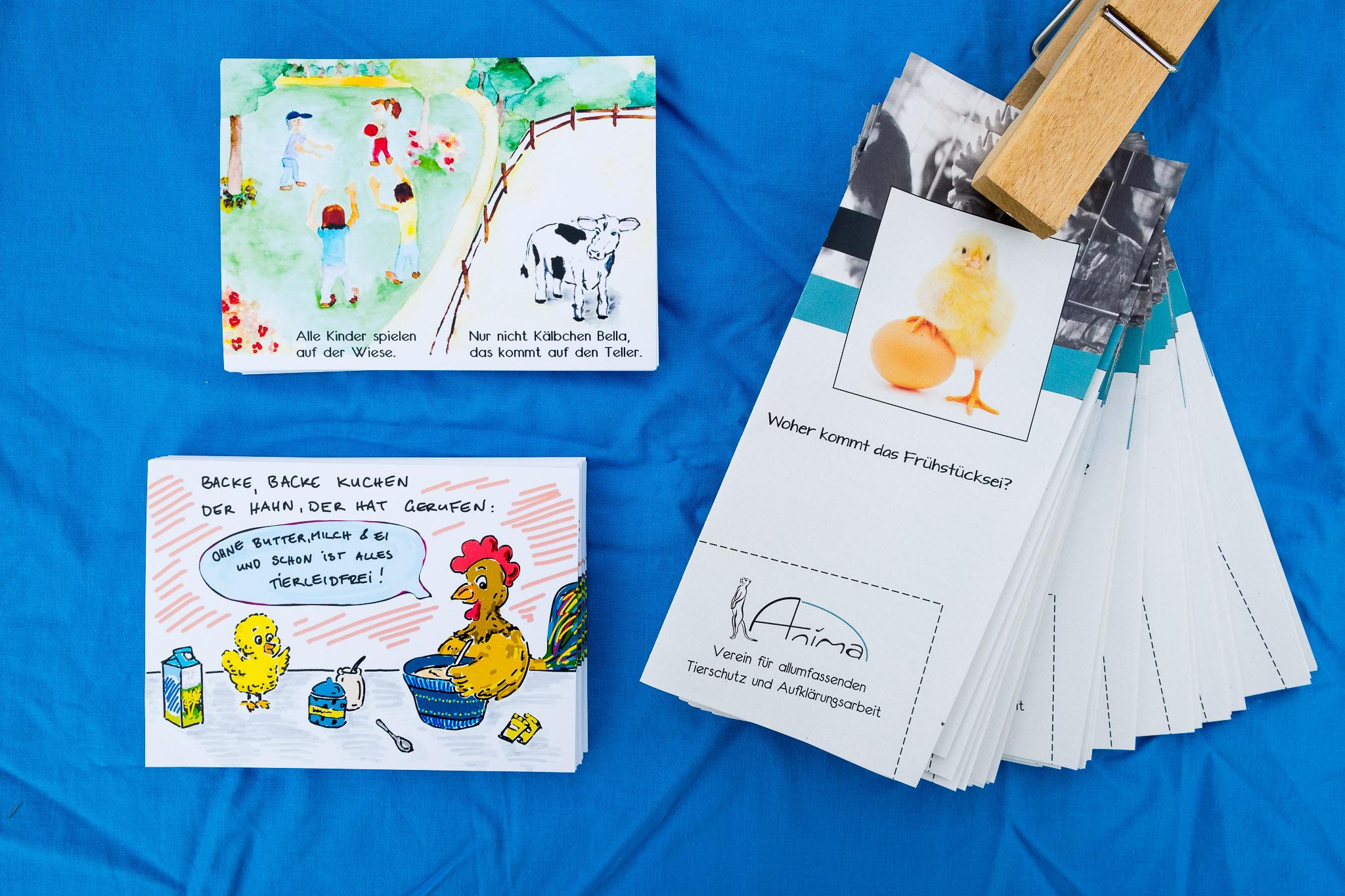 Drei Flyer mit Infotexten zur Tierausbeutung passend zu Ostern.